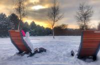 Bałwan Olaf z Krainy Lodu cziluje w Parku Regana