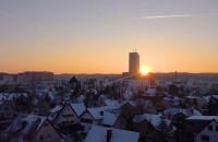 Zimowy zachód słońca nad Oliwą