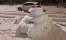 Śnieżny czołg w Oliwie