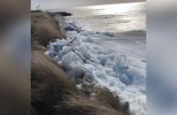 Wędrujący lód na brzegu morza