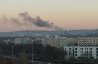 Pożar na Smoluchowskiego widziany na Zaspie