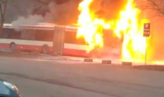 Pożar autobusu Gdańsk  ul. Dębinki 7