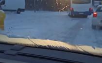 Lód na drogach na Witominie