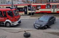 Skutki wypadku na skrzyżowaniu Legionów i Kościuszki