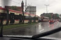 Zator tramwajowy w centrum Gdańska