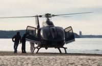 Lądowanie helikoptera na plaży