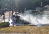 Gaszenie pożaru auta na Chwarznie