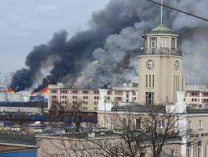 Pożar na terenie portu w Gdyni