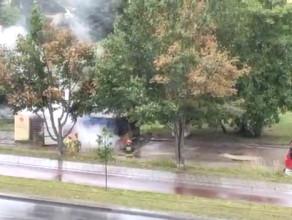 Pożar śmietnika przy ul. Bulońskiej na Morenie