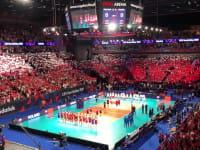 Hymn Polski podczas meczu z Rosją