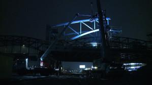 Scalanie łuków nowego wiaduktu
