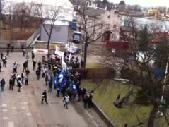 Protest strażaków w gdańskim porcie