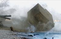Bunkier koziołkuje po krawędzi klifu