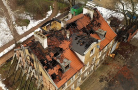 Skutki pożaru w centrum Gdańska