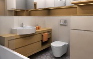 Aranżacje wnętrz. Wanna, prysznic i pralka w łazience o powierzchni 4,6 m kw.