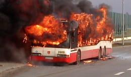Spalił się autobus komunikacji miejskiej