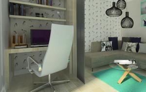 Wielofunkcyjny pokój z miejscem do pracy