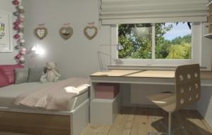 Funkcjonalny pokój dziewczynki w wieku szkolnym