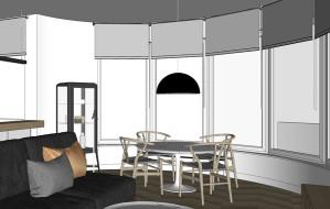 Jak funkcjonalnie urządzić owalny przeszklony salon?