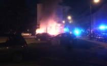 Pożar pięciu aut we Wrzeszczu