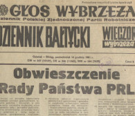 Jedna gazeta informowała o stanie wojennym