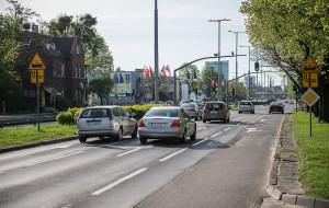 Nawrotka na Grunwaldzkiej odciąży skrzyżowanie przy Galerii Bałtyckiej