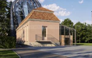 Nowa oranżeria i most w parku Oliwskim