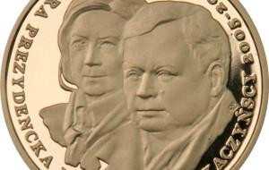 Złota moneta z wizerunkiem Lecha i Marii Kaczyńskich