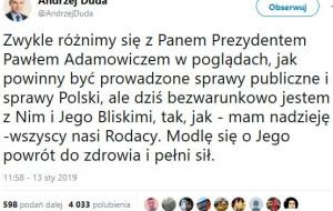 Reakcje polityków na atak na Pawła Adamowicza