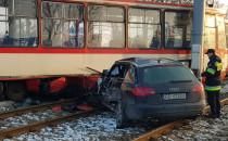 Zderzenie tramwaju z autem na Hallera