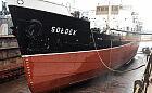 """""""Sołdek"""" w pełnej krasie podczas remontu w doku w stoczni"""