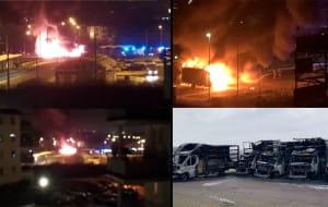 Pożar pięciu dostawczaków to podpalenie