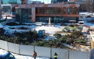 Płot i wycięte drzewa przy budynku LOT-u
