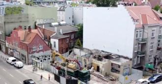 Znika budynek dawnej stacji benzynowej we Wrzeszczu
