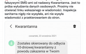 Fałszywe SMS-y o kwarantannie. GIS ostrzega