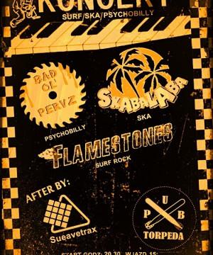 Koncert Trójmiejskich zespołów Skabalaba, Bad Ol Pervz, oraz Flamestones