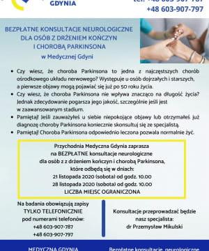 Konsultacje Neurologiczne dla osób z drżeniem kończyn i chorobą Parkinsona