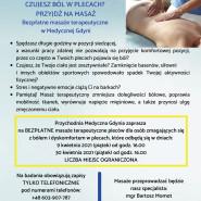 Bezpłatne masaże terapeutyczne pleców w Medycznej Gdyni