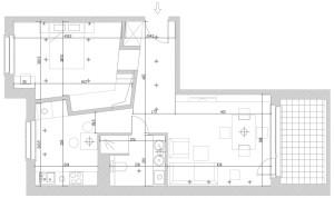 Koncepcja druga. Zachowano oryginalny podział funkcjonalny mieszkania. Ściana działowa, oddzielająca sypialnię od przedpokoju i kuchni poszerza perspektywę, otwiera przestrzenie salonu i kuchni.