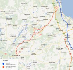 Zakres planowanej elektryfikacji na Kaszubach.