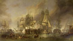 Bitwa pod Trafalgarem, w której brał udział HMS  Victory . Obraz pędzla W. C. Stanfield'a.