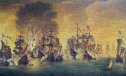Galeon  Wodnik  odznaczył się podczas bitwy ze Szwedami pod Oliwą w 1627 r. Obraz pędzla S. Płużańskiego.