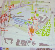 Układ ciągów pieszych w rejonie nowego Targu Siennego i Rakowego. Przejście naziemne przez Wały Jagiellońskie nie jest przewidziane do realizacji (będzie trzeba nadal chodzić tunelem). Nie będzie też kładki nad ul. 3 Maja.