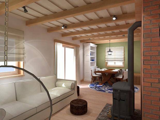 """Jasne drewno na suficie i podłodze, jasne ściany oraz utrzymane w tej kolorystyce elementy wyposażenia sprawiają, że wnętrze jest przytulne, """"czyste"""" i choć tradycyjne, to jednak nowoczesne."""