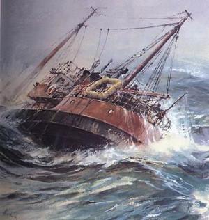 """""""Cyranka"""" poszła na dno z 12 rybakami na pokładzie. Obraz Adama Werki."""