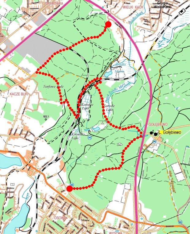 Schemat trasy na podkładzie mapy Nadleśnictwo Gdańsk