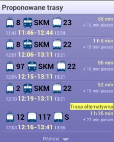 Propozycje dojazdu w aplikacji Jakdojade.pl dla trasy: Fontanna Neptuna w Gdańsku - Skwer Kościuszki w Gdyni, w sobotę o godz. 12.
