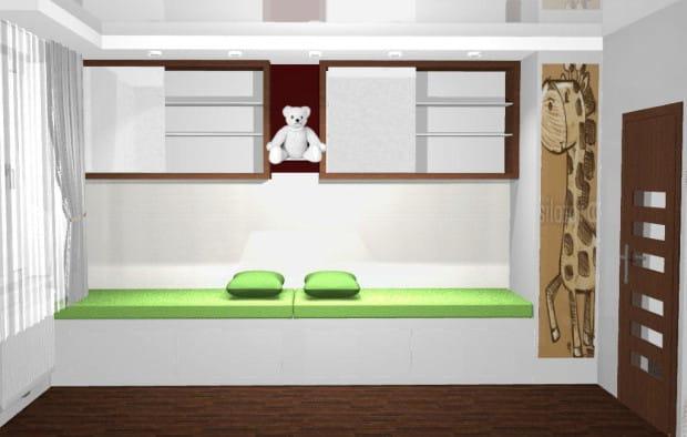 W małym pokoju trzeba myśleć o wykorzystaniu każdego centymetra sześciennego przestrzeni - również tej pod łóżkiem i pod sufitem.