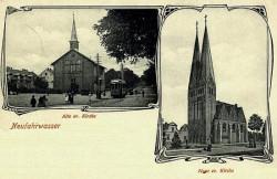 Dwa ewangelickie Kościoły Wniebowstąpienia w Nowym Porcie. Po lewej stronie nieistniejąca już świątynia projektu Karla Schinkla. Po prawej stronie ceglany kościół z początku XX wieku.