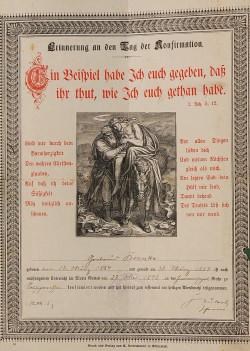 Świadectwo konfirmacji Gertrudy Brzoski. Uroczystość odbyła się w 1898 roku w pierwszym, nieistniejącym już dziś Kościele Wniebowstąpienia w Nowym Porcie.